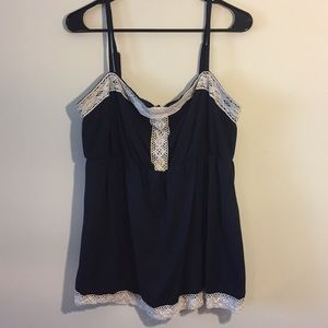 Navy Blue Torrid Top With White Embroidery